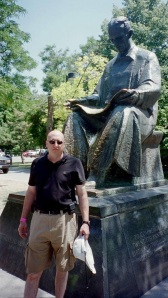 Frank Germano at Tesla memorial statue